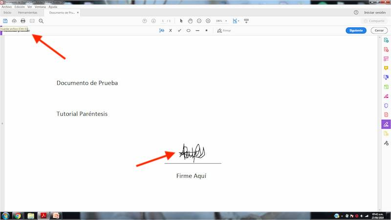 firmar documentos PDF en Adobe Acrobat Reader
