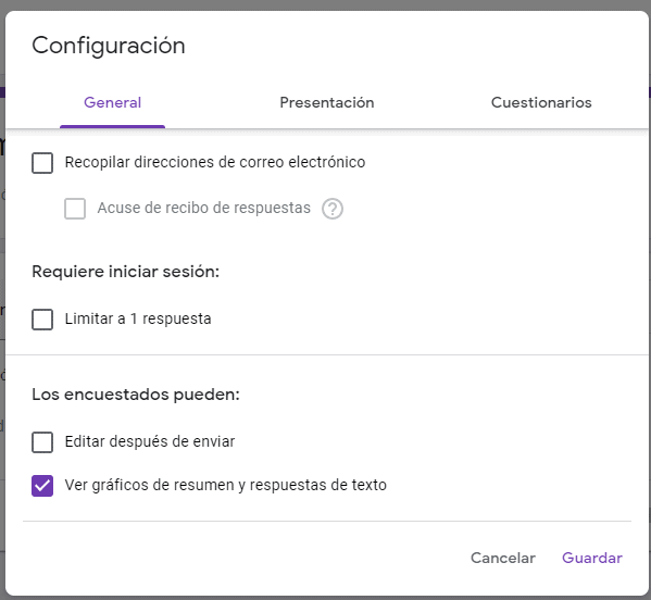 Ver graficos Google Forms