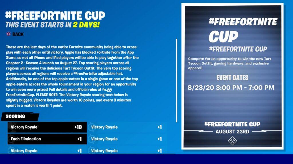 free fortnite cup